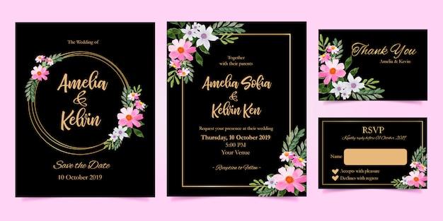 Eleganckie zaproszenie na ślub z akwarelą kwiatową dziękuję zestaw rsvp