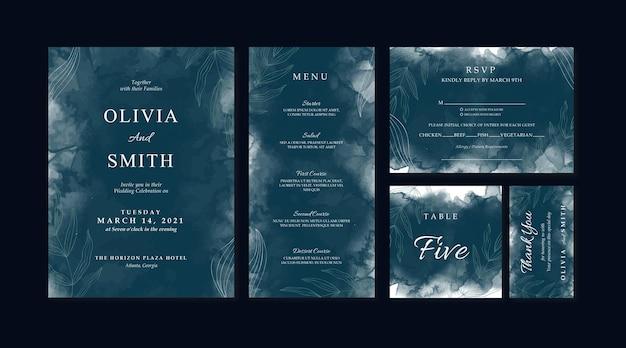 Eleganckie zaproszenie na ślub z ciemną akwarelą