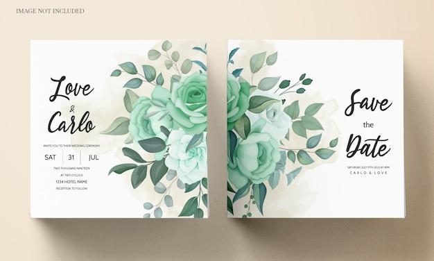 Eleganckie zaproszenie na ślub z kwiatem i liśćmi zieleni