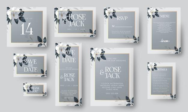 Eleganckie zaproszenie na ślub z ozdobami