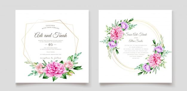 Eleganckie zaproszenie na ślub z pięknym kwiatowym wzorem