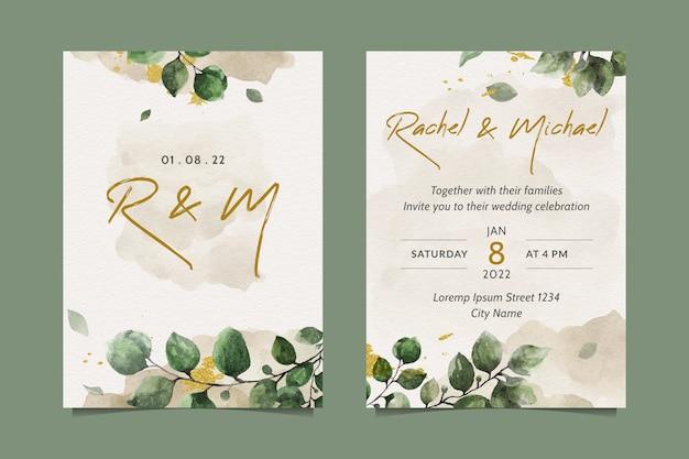 Eleganckie zaproszenie na ślub z pięknymi liśćmi akwareli