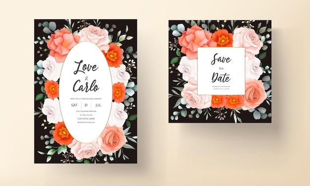Eleganckie zaproszenie na ślub z pomarańczowymi ornamentami kwiatowymi