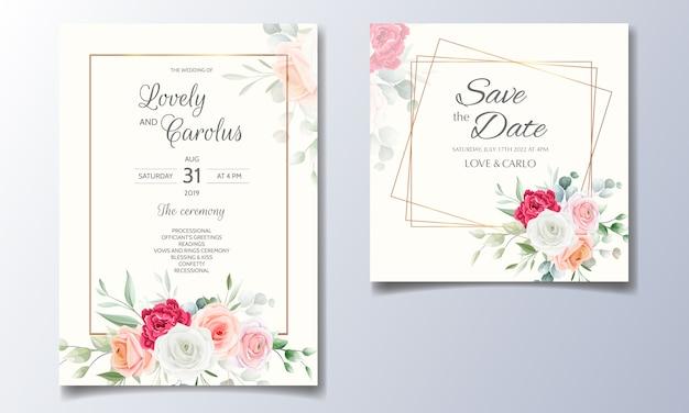 Eleganckie zaproszenie na ślub z ramą w kwiaty