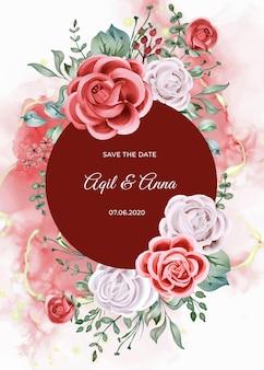 Eleganckie zaproszenie na ślub z różą i akwarelą