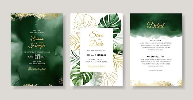 Eleganckie zaproszenie na ślub z zieloną tropikalną akwarelą
