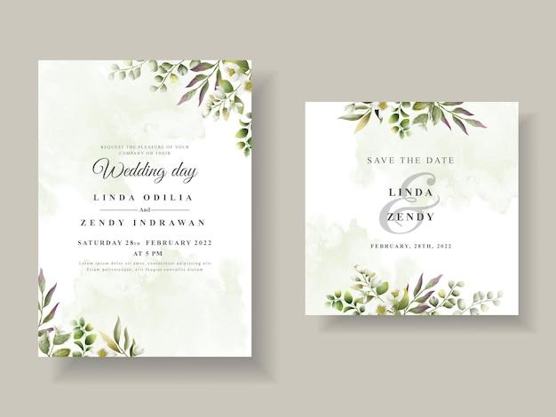 Eleganckie zaproszenie na ślub z zielonymi liśćmi