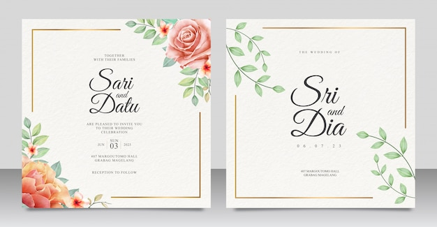Eleganckie zaproszenie na ślub zestaw szablonu z pięknym motywem kwiatowym
