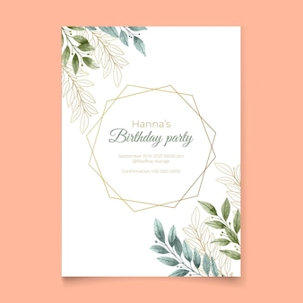 Eleganckie zaproszenie na urodziny z ozdobami liści