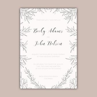 Eleganckie zaproszenie na wesel z ręcznie rysowane liści i gałęzi
