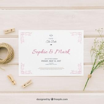 Eleganckie zaproszenie na wesele