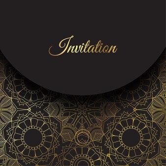 Eleganckie zaproszenie ze złotym wzorem mandali