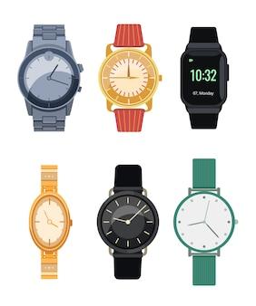 Eleganckie zegarki na rękę płaska kolekcja ikon