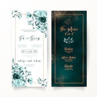 Eleganckie zielone artykuły weselne w kwiaty i akwarele