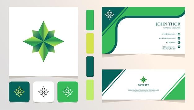 Eleganckie zielone kryształowe logo gradientowe, baner, szablon zestawu kart biznesowych