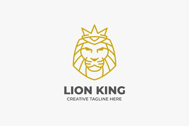 Eleganckie złote jednokolorowe logo z głową króla lwa