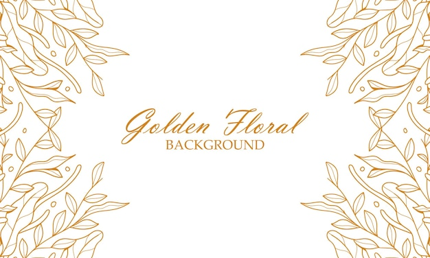 Eleganckie złote rośliny kwiatowe pozostawia ręcznie rysowane tła ilustracji