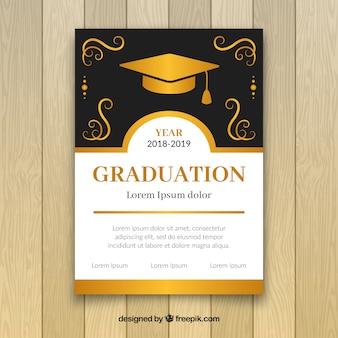 Eleganckie złote zaproszenie na przyjęcie z okazji ukończenia szkoły