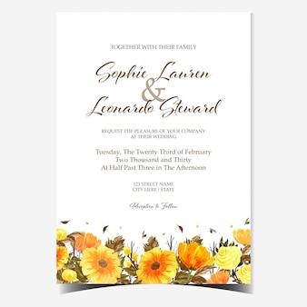Eleganckie żółte i czarne kwiatowe zaproszenie na ślub