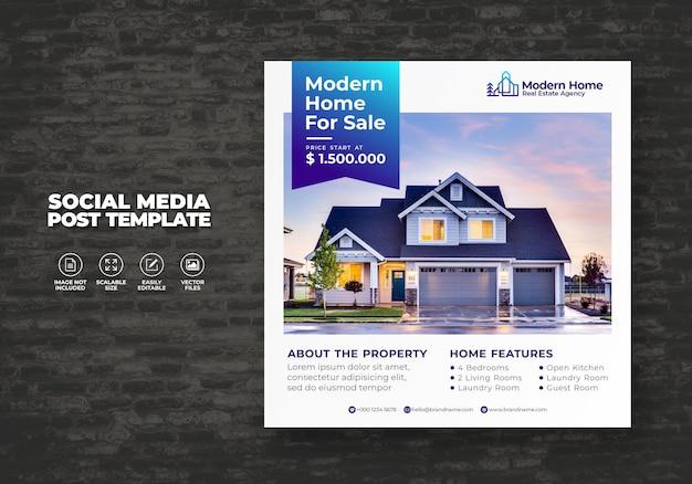 Elegant modern dream home nieruchomości social media post szablon na sprzedaż