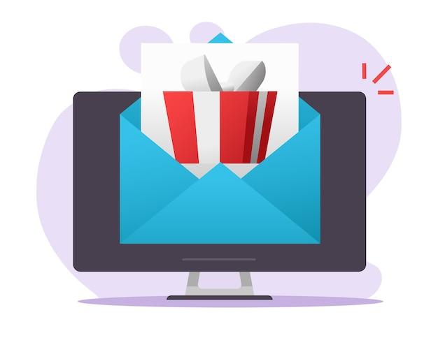 Elektroniczna cyfrowa wiadomość e-mail w formie listu prezentowego otrzymana na komputerze pc