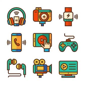 Elektroniczna ikona linii w pełnym kolorze