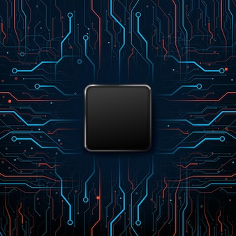 Elektroniczna płytka drukowana w tle tech, z linią połączeniową i elementem kropkowym