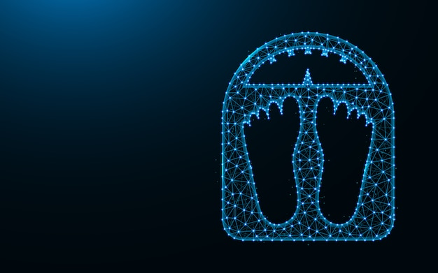Elektroniczna waga wykonana z punktów i linii na ciemnym niebieskim tle, zważyć szkielet siatki wielokątne ilustracji