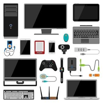 Elektroniczne gadżety wektorowe ikony