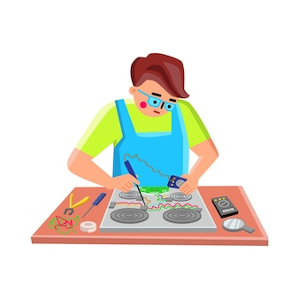 Elektroniczne naprawy serwisowe pracownika naprawić urządzenie wektor. testowanie i naprawianie gadżetu elektronicznego pieca młody inżynier mechanik, lutowanie żelaznym drutem lutowniczym. charakter ilustracja kreskówka płaskie
