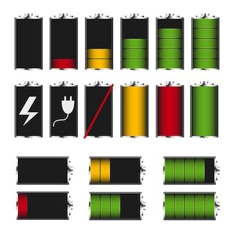 Elektroniczne urządzenia wskazujące stan baterii. akumulator telefonu do ładowania. na białym tle. ilustracja wektorowa.
