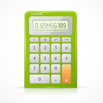 Elektronicznego kalkulatora zielony na białym tle.