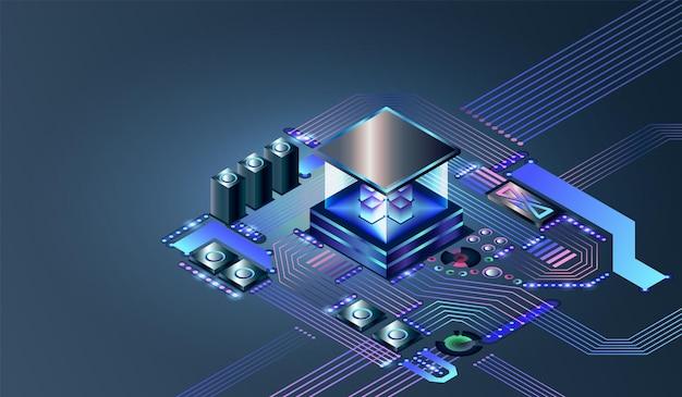Elektroniczny chip cyfrowy procesora. abstrakcyjny sprzęt komputerowy lub elementy elektroniczne na płycie głównej