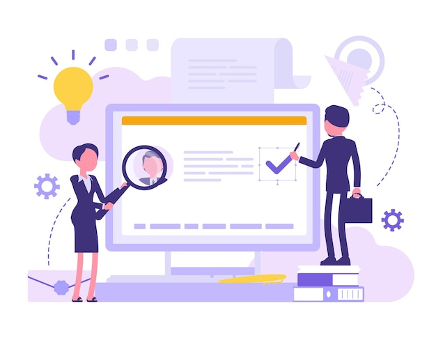 Elektroniczny dokument biznesowy. ludzie biznesu zajmują się oficjalnym dokumentem na ekranie komputera, czytają informacje cyfrowe, studiują akta biurowe i dane. streszczenie ilustracji wektorowych z postacią bez twarzy