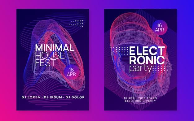 Elektroniczny fest. dynamiczny kształt i linia gradientu. plakat imprezy klubowej. impreza z dj-em techno.