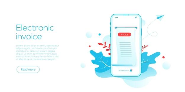 Elektroniczny Paragon Lub Faktura W Płaskiej Ilustracji Wektorowych Premium Wektorów