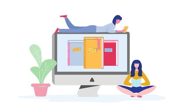 Elektroniczny plakat biblioteki online z komputerem i książkami, czytającymi postaciami lub uczącymi się studentami, czytnikami e-booków, koncepcją fanów współczesnej literatury. płaska kreskówka