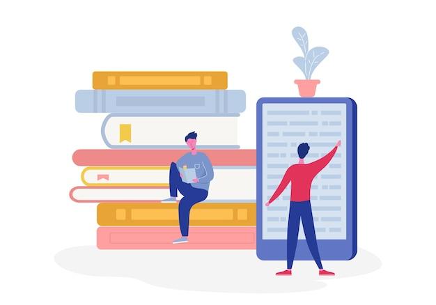 Elektroniczny plakat biblioteki online z komputerem i książkami, ludzie czytający postacie lub studenci, czytnik e-booków, koncepcja fanów literatury współczesnej. płaska kreskówka