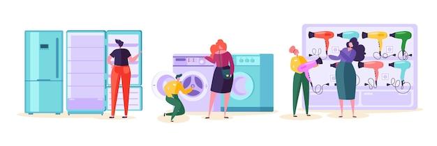 Elektroniczny sklep detaliczny rynek sprzedaży konsument. zakup telewizora i kuchenki mikrofalowej przez klienta w supermarkecie technologicznym. postać człowieka wybierz produkt lodówka i pralka w tech mall płaskie kreskówka wektor ilustracja