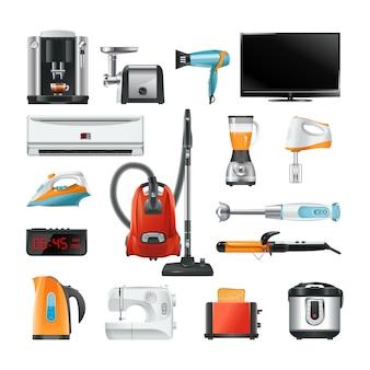 Elektroniczny sprzęt gospodarstwa domowego na białym tle
