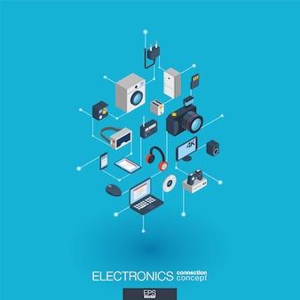 Elektronika zintegrowane ikony internetowe. koncepcja interakcji izometrycznej sieci cyfrowej. połączony graficzny system kropkowo-liniowy. streszczenie tło dla technologii, gadżety domowe. infograf