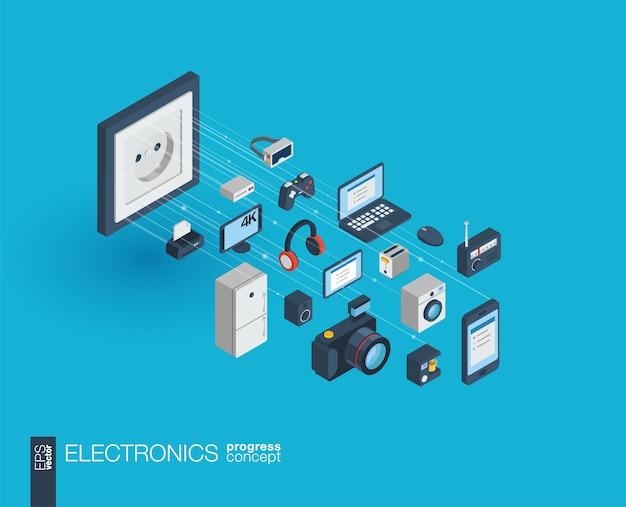 Elektronika zintegrowane ikony internetowe. koncepcja postępu izometrycznego sieci cyfrowej. połączony system wzrostu linii graficznych. streszczenie tło dla technologii, gadżety domowe. infograf