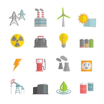 Elektrownia Energia ikony kolekcji