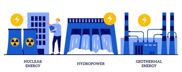 Elektrownia jądrowa, energia wodna, koncepcja energii geotermalnej z małymi ludźmi. zestaw źródeł energii. generowanie energii elektrycznej, turbiny zapory, elektrownie, metafora pompy ciepła.