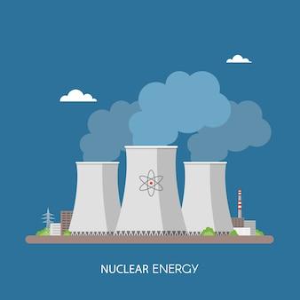 Elektrownia jądrowa i fabryka. koncepcja przemysłowa energii jądrowej. ilustracja w stylu płaski.