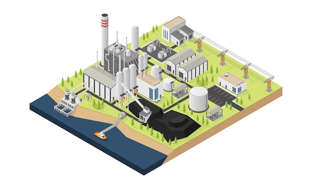 Elektrownia węglowa na węgiel w stylu izometrycznym