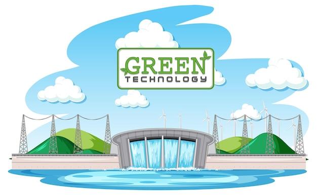 Elektrownie wodne generują energię elektryczną z zielonym sztandarem