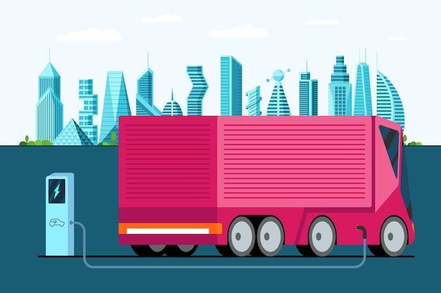 Elektryczna ciężarówka na stacji ładującej hybrydowy futurystyczny pojazd z przyczepą w nowoczesnym mieście przyszłości
