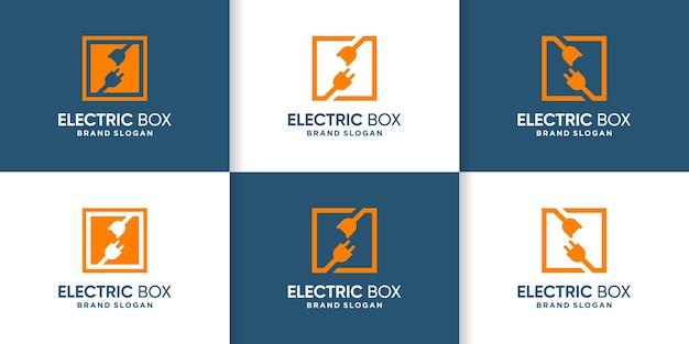 Elektryczna kolekcja logo z koncepcją pudełka