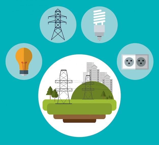 Elektryczna pylon miasta żarówki prymki ekologia